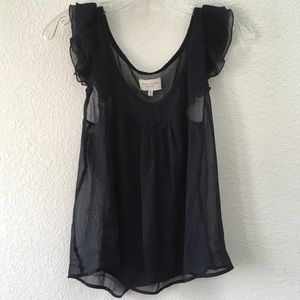 GILLY HICKS Sheer Blouse w/ Frilly Sleeves